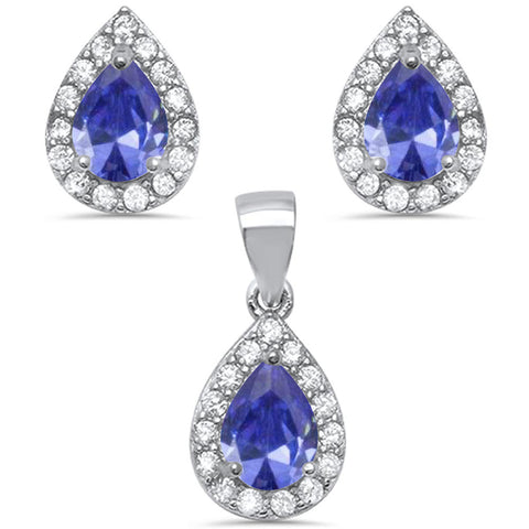 Pear Shape Tanzanite & Cz .925 Sterling Silver Earring & Pendant Jewelry set