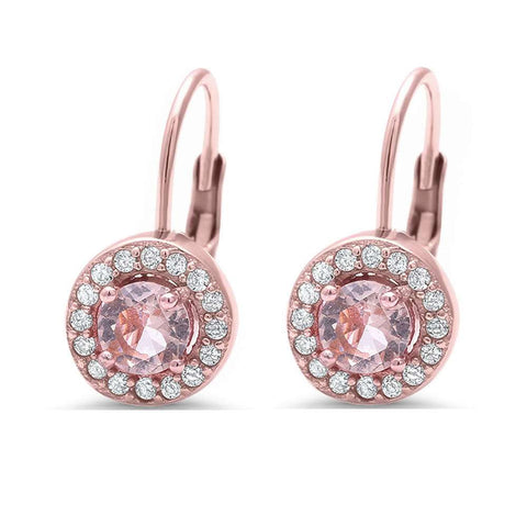 Rose Gold Plated Halo Morganite & Cubic Zirconia .925 Sterling Silver Earring
