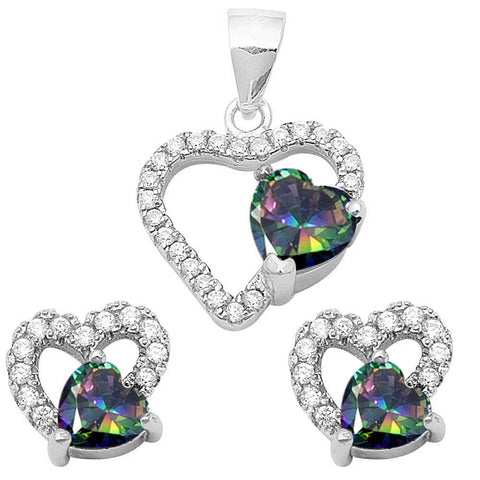 Rainbow Topaz & Cz Heart Earring & Pendant .925 Sterling Silver Set
