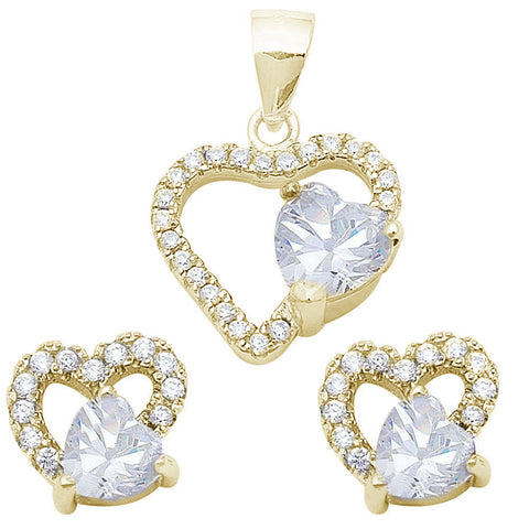 Yellow Plated Cubic Zirconia Heart .925 Sterling Silver Pendant & Earrings Set
