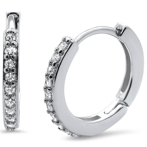 Round Hoop White CZ .925 Sterling Silver Earrings