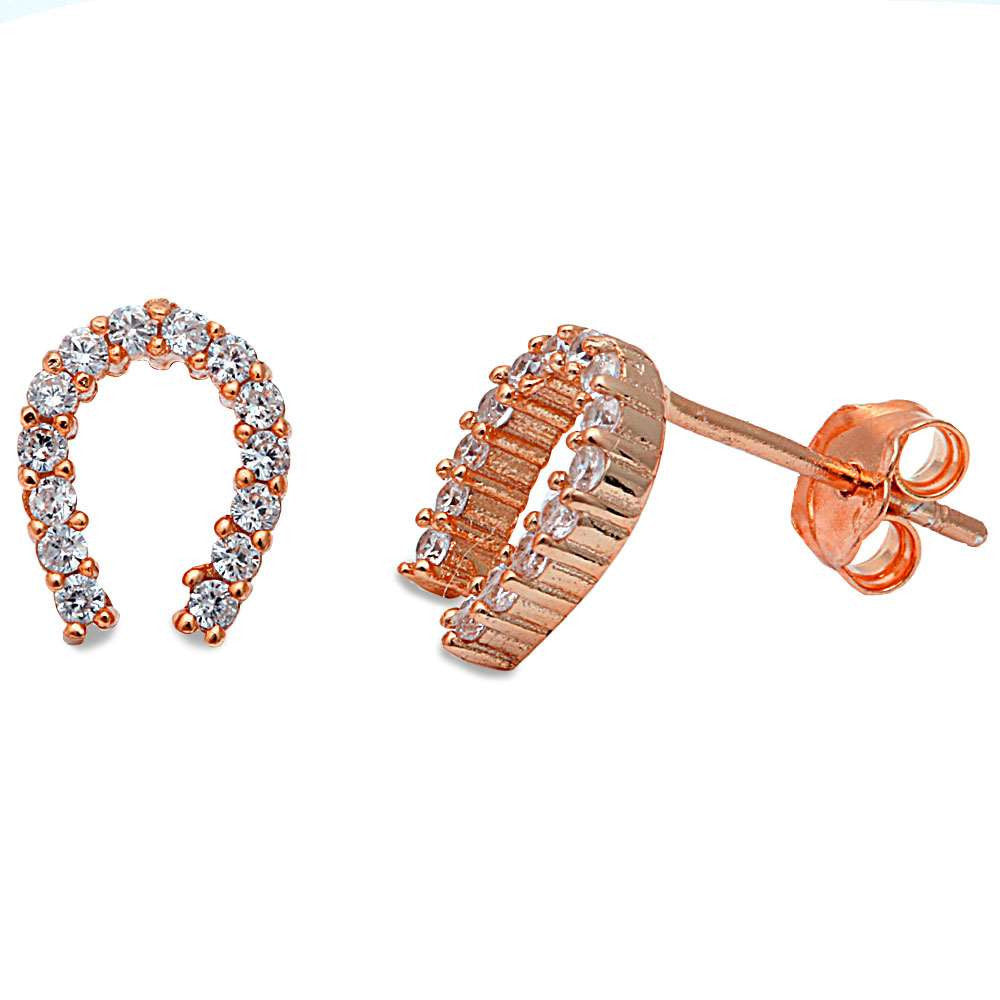 Rose Gold Plated Cz Horse Shoe .925 Sterling Silver Earrings