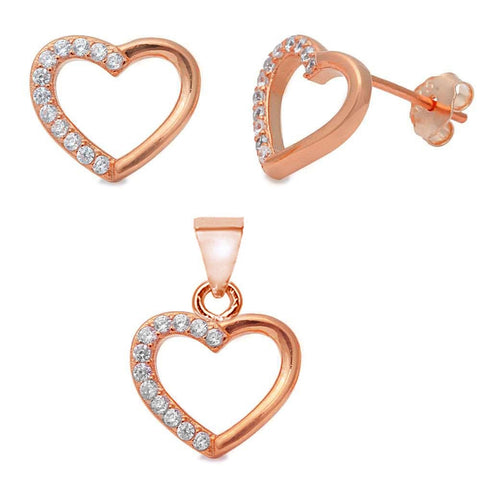 Trendy! Rose Gold Plated Heart .925 Sterling Silver Pendant & Earring Set