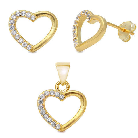 Trendy! Yellow Gold Plated Heart .925 Sterling Silver Pendant & Earring Set