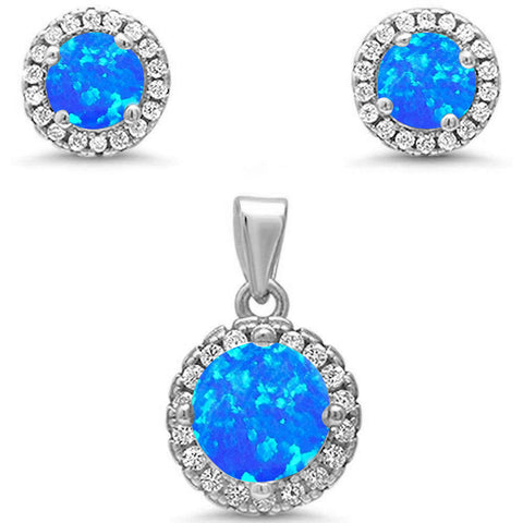 Round Halo Blue Opal & Cubic Zirconia .925 Sterling Silver Pendant & Earrings