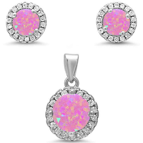 Round Halo Pink Opal & Cubic Zirconia .925 Sterling Silver Pendant & Earrings