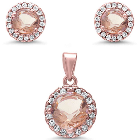 Rose Gold Plated Halo Morganite & Cubic Zirconia .925 Sterling Silver Pendant & Earring