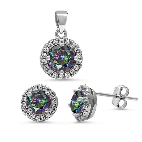 Rainbow Topaz Halo Cubic Zirconia Pendant & Earrings .925 Sterling Silver Set