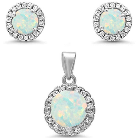 Round Halo White Opal & Cubic Zirconia .925 Sterling Silver Pendant & Earrings
