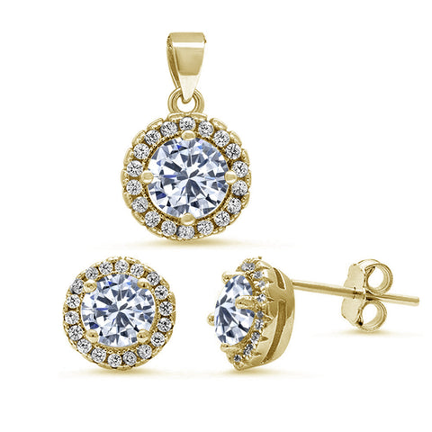 Yellow Gold Plated Halo Cubic Zirconia Pendant & Earrings .925 Sterling Silver Set
