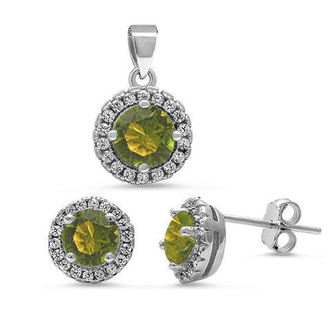 Round Halo Peridot & Cubic Zirconia .925 Sterling Silver Pendant & Earring Set