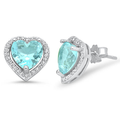 Aquamarine Heart & Cubic Zirconia Stud Style  .925 Sterling Silver Earring