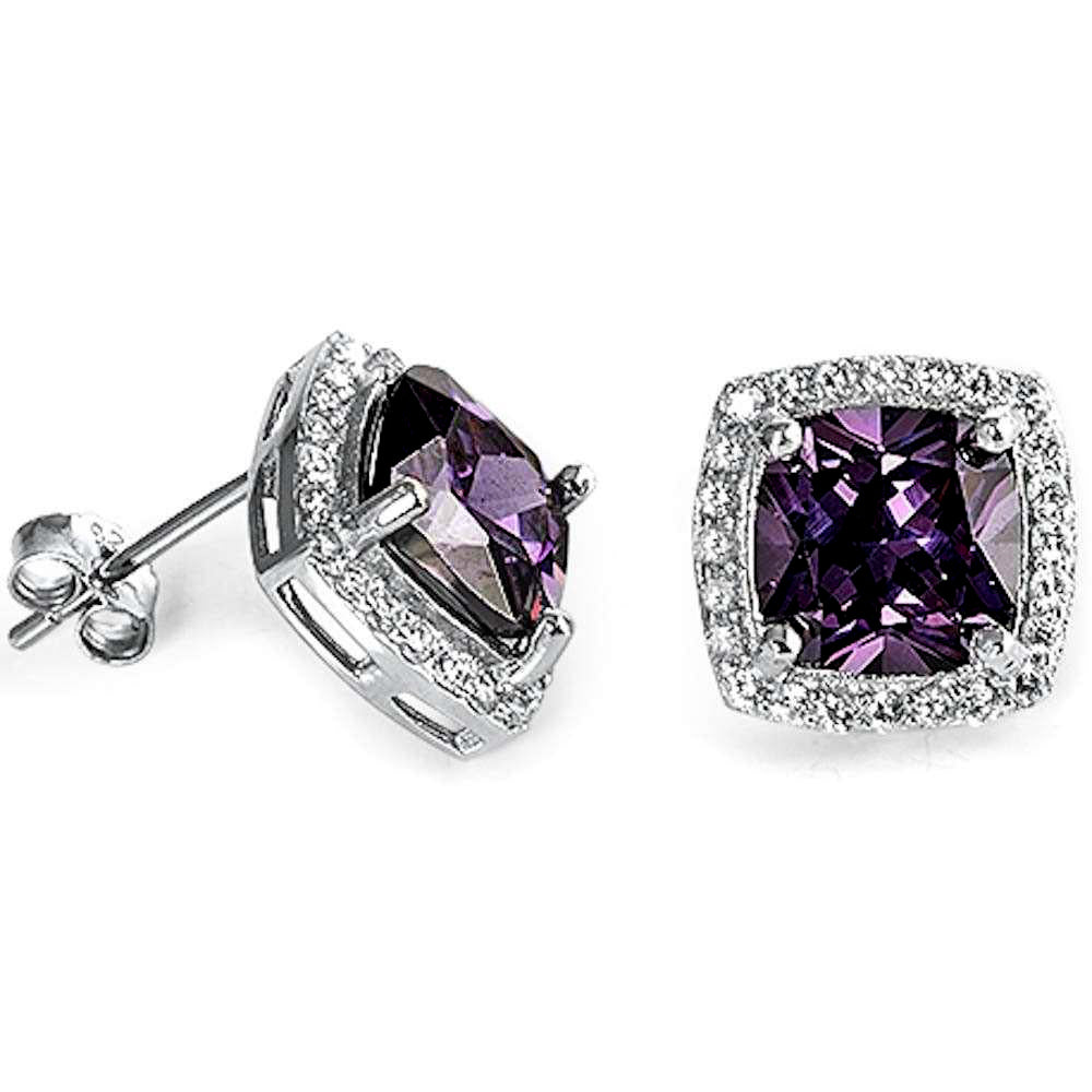 Cushion Cut Amethyst & Cubic Zirconia .925 Sterling Silver Earrings