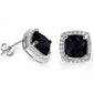 Cushion Cut Black Onyx & Cubic Zirconia .925 Sterling Silver Earrings