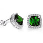Cushion Cut Green Emerald & Cubic Zirconia .925 Sterling Silver Earrings