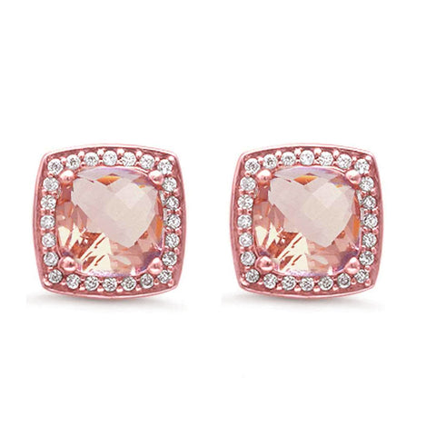 Rose Gold Plated Square Princess Cut Halo Morganite .925 Sterling Silver Earrings