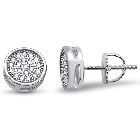 Round Cubic Zirconia Pave Screw Back .925 Sterling Silver Earrings