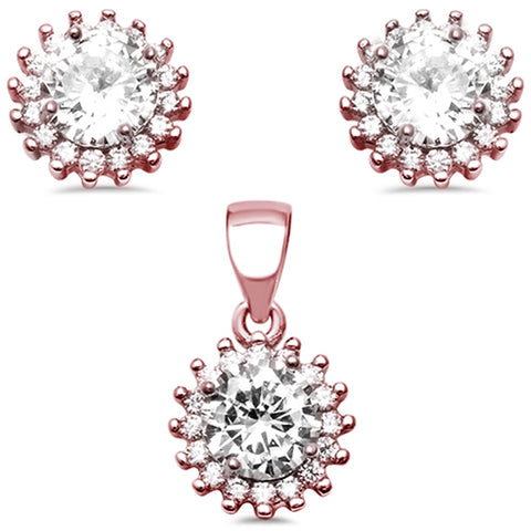 Rose Gold Plated Halo Cubic Zirconia .925 Sterling Silver Earring and Pendant Set