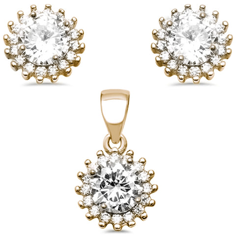 Yellow Gold Plated Halo Cubic Zirconia .925 Sterling Silver Earring and Pendant Set