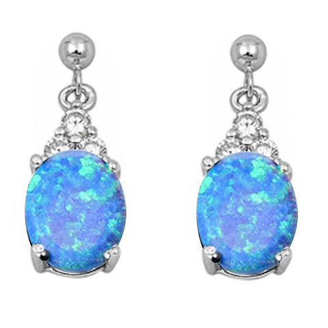 Blue Opal & Cz Dangle .925 Sterling Silver Earrings