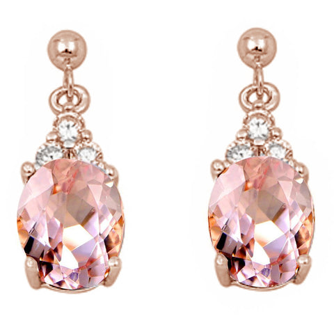 Rose Gold Plated Oval Morganite & Cubic Zirconia .925 Sterling Silver Earrings