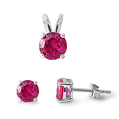 Ruby .925 Sterling Silver Pendant & Earrings Set .5""