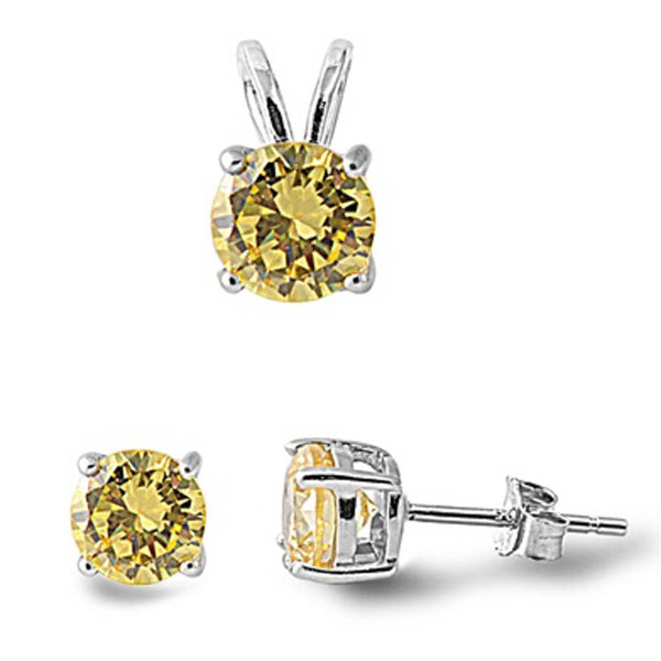 Yellow CZ .925 Sterling Silver Pendant & Earrings Set .5""