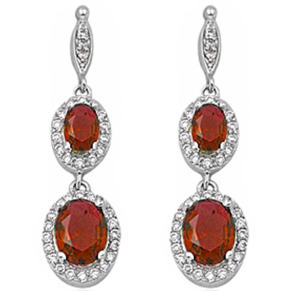 Garnet & Cz .925 Sterling Silver Dangle Earrings