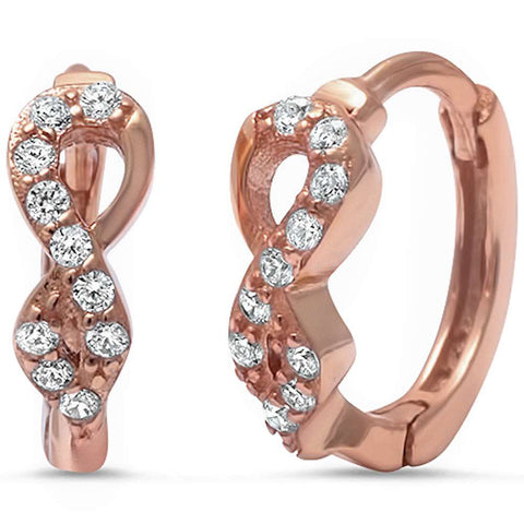 Rose Gold Plated Cz Infinity .925 Sterling Silver Hoop Earring