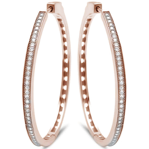 Rose Gold Plated MicroPave With Cubic Zirconia .925 Sterling Silver Earrings