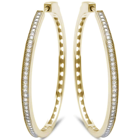 Yellow Gold Plated MicroPave With Cubic Zirconia .925 Sterling Silver Earrings