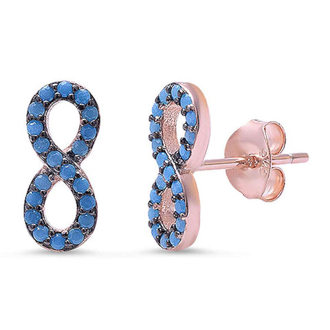 Rose Gold Plated Nano Turquoise Infinity .925 Sterling Silver Earrings