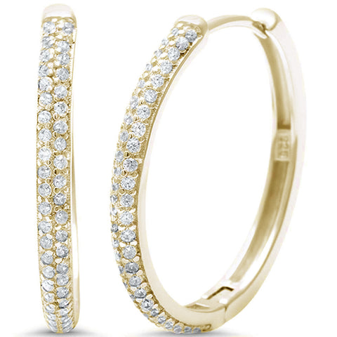 75b87e3a4 Yellow Gold Plated Micro Pave Cubic Zirconia Hoop .925 Sterling Silver  Earrings
