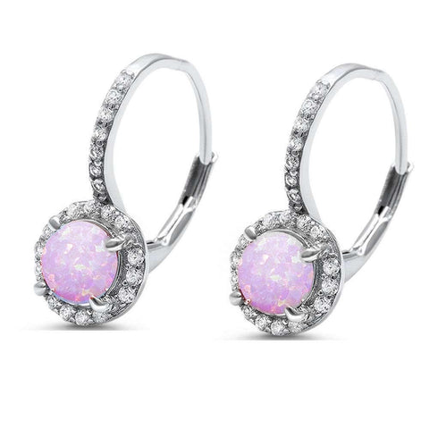 Lab Created Round Pink Opal .925 Sterling Silver Earrings