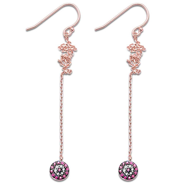 Rose Gold Plated Ruby & Cubic Zirconia Dangle .925 Sterling Silver Earrings