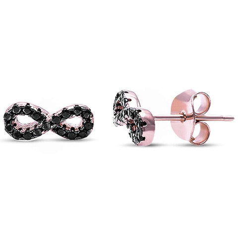 Rose Gold Plated Black Cubic Zirconia Infinity .925 Sterling Silver Earrings