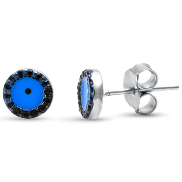 Black Cubic Zirconia Blue Evil Eye .925 Sterling Silver Earrings
