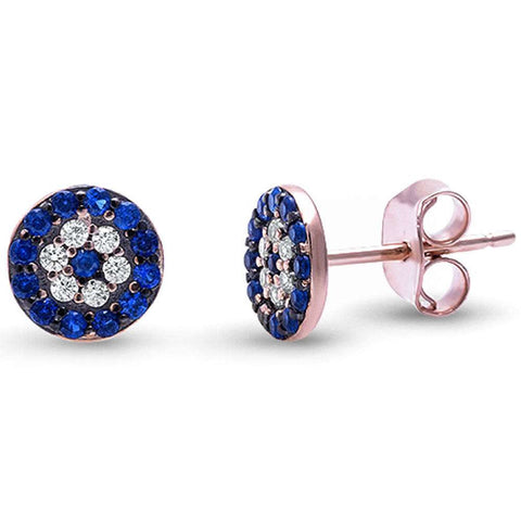<span>CLOSEOUT!</span> Rose Gold Plated Blue Sapphire & Cubic Zirconia .925 Sterling Silver Earrings
