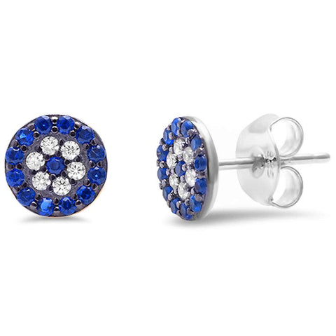 <span>CLOSEOUT!</span> Blue Sapphire & Cubic Zirconia .925 Sterling Silver Earrings