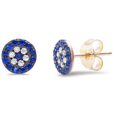 <span>CLOSEOUT!</span> Yellow Gold Plated Blue Sapphire & Cubic Zirconia .925 Sterling Silver Earrings
