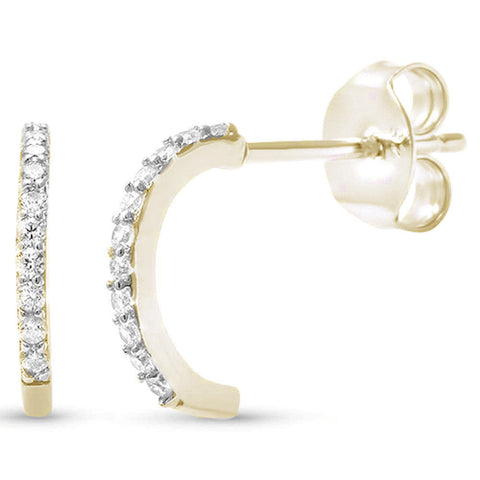 Yellow Gold plated Half Cubic Zirconia Hoop .925 Sterling Silver Earrings