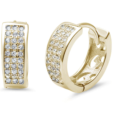 Yellow Gold Plated MicroPave Cubic Zirconia .925 Sterling Silver Earrings