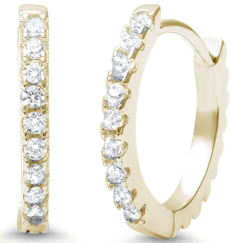 ba44602e3 Yellow Gold Plated Round CZ .925 Sterling Silver Hoop Earrings .925 Sterling  Silver Earrings