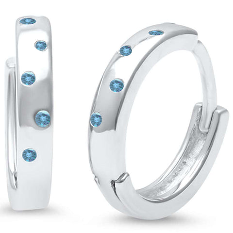 Aquamarine Cz Accent Hoop .925 Sterling Silver Earrings