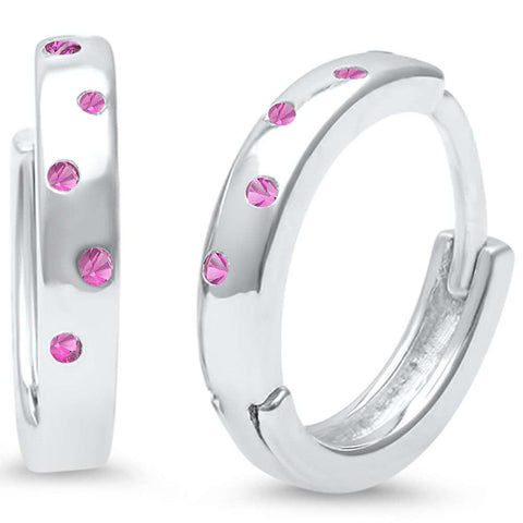 Pink Topaz Cz Accent Hoop .925 Sterling Silver Earrings