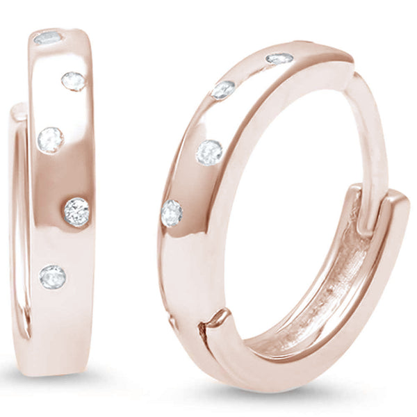 Rose Gold Plated Cz Accent Hoop .925 Sterling Silver Earrings
