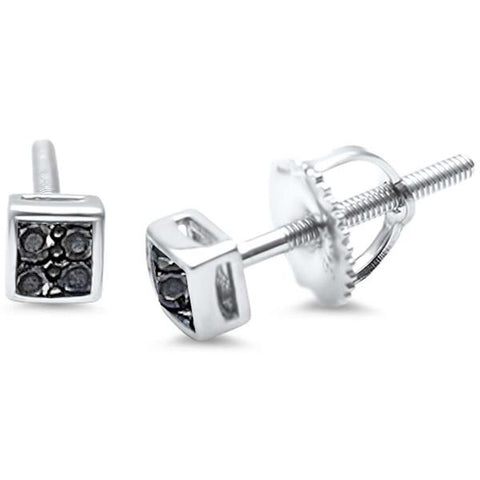 Princess Cut Black Onyx Micro Pave .925 Sterling Silver Earring