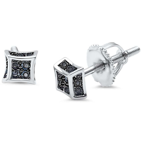 Black Onyx Cz Micro Pave .925 Sterling Silver Earring