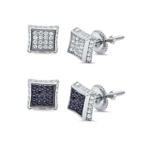 6MM Micro Pave Square Cubic Zirconia .925 Sterling Silver Stud Earrings Colors Available!