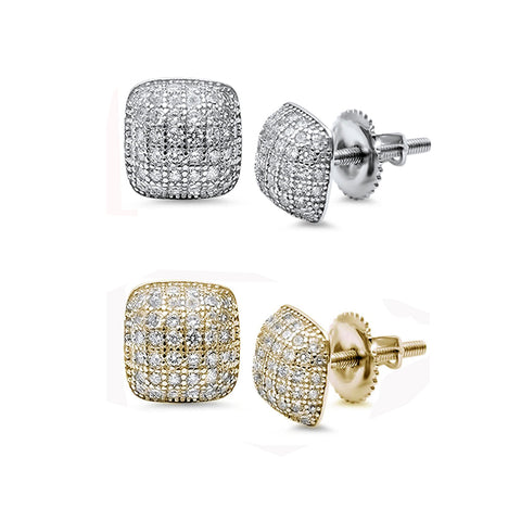 9MM Princess Cut Micro Pave CZ .925 Sterling Silver Stud Earrings Colors Available!